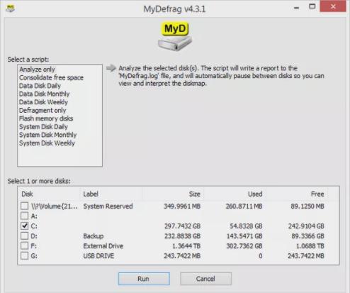 my defrag software