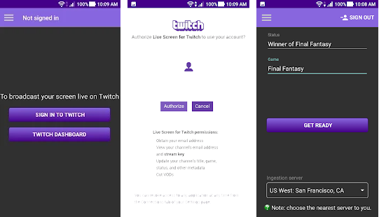 live stream for twitch